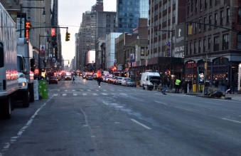 Emergency responders on the scene at 44th Street and 8th Avenue. Four people were injured, including the bomber, but none suffered critical injuries.